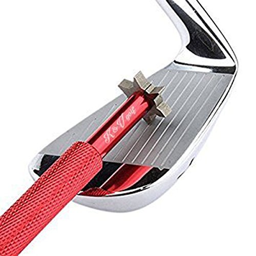 Golf Iron Wedge Groove Sharpener Golf Accessories Golf-club Re-grooving Kit with 6 Head (U,V) Cutters by K&V Golf Multi-angle Clean Club Groove Sharpening Tool Improves Backspin and Ball control