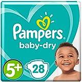 Pampers Baby-Dry Windeln, Größe5+, 28Windeln, für Atmungsaktive Trockenheit