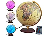 """Illuminated World Globe with Built in multi-color LED light 12"""" with remote"""