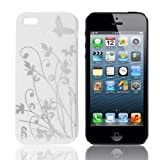 Generic Silver Tone Flower Print White TPU Soft Plastic Case Cover for iPhone