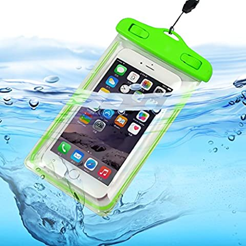ONX3 (Green) Samsung Galaxy C7 Pro SM-C7010 Universal Transparent Mobile Cell Smart Phone, Passport, Money Underwater Waterproof Protection Bag Touch Responsive