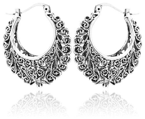 2LIVEfor Traumhafte Ohrringe Ethno Gross verziert Ohrringe Bohemian Vintage Tibet lang Hängend Rund Creolen Breit Antik Style Silber Ornamente Creolen verflochten 1
