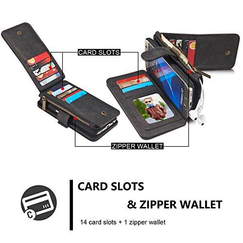 Handy-Hüllen & Hüllen, Für Samsung Galaxy S7 Wallet Case, CaseMe abnehmbare Premium Leder Tasche, 13 Card Slots, 1 Foto Frame Zipper Magnetische Bucht ( Farbe : Schwarz ) Schwarz