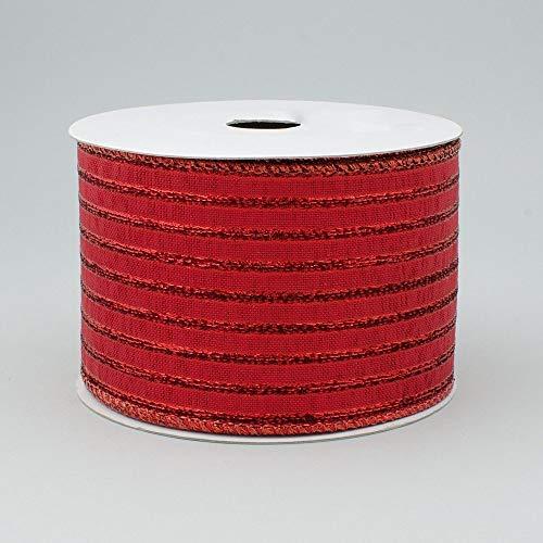 6,3cm breit Expressions Metallic Lamé Streifen Band mit Draht rot (10Meter) Weihnachten, Patriotische, Valentine 's Day