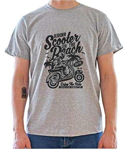 Riding Scooter on The Beach. Vespa Inspired Retro Poster Mens T-Shirt X-Large