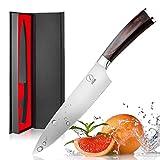 Deik Coltello Cucina, 20cm Coltello Chef con 1.4116 Importati in Acciaio Inox, Equilibrio di Qualità Professionale e Super Sharp con Ergnonomic Classy Manico in Legno