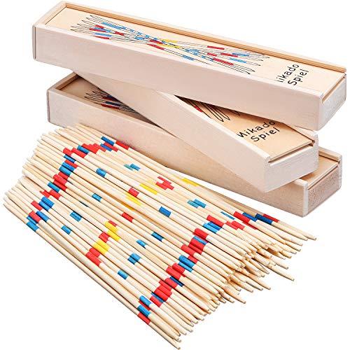Tatuo 93 Stück Pick-up-Sticks, dünne Pick-up-Spiel, Holz Classic Pickup-Spiel, Spaß Familie Spiel Geschenkidee (Pick Sticks Up Spiel)