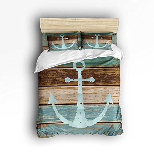 iliges Bettwäsche Sets Bettbezug mit 2kissenrollen Hotel Qualität 100% Baumwolle (Anker und Welle), baumwolle, Anchor 2, Twin/Small ()