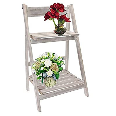 2 Tier Rustic White Wash Graden Shelf Folding Wooden Etagere Rack Wood Flower Pots Display - inexpensive UK light store.