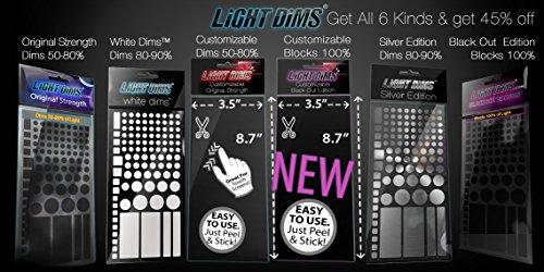 Foglio attenuatori di luminositá lightdims – acquista tutti i 6 modelli del nostro prodotto. original, black out, argento, attenuatori bianchi, original personalizzabile, e personalizzabile black out