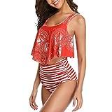 WinCret Damen Bikini Set Sexy Halter Bademode Zweiteilige Badeanzug - Push Up Badeanzüge Top Rüschen mit Hoher Taille Schlank Bottoms Set
