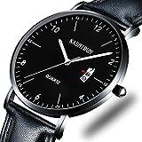 Herrenuhren Leder Uhr Sport Uhr für Herren lässig Armbanduhr wasserdicht Kalender Datum dünn & schlank Zifferblatt