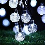 easyDecor 2 Pack Luces Navidad Exterior, Cadena Solar de Luces (6m 30 LED) 8 Mode Burbuja Cristal Luces para Hogar, Fiestas, Boda, Arbóles Navidad, Jardín, Patio, Party Decoración (Blanco Fresco)