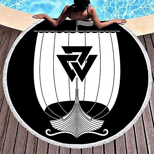 Leo-Shop Norse Viking Valknut Kriegsschiff der Wikinger Drakkar Tattoo Dickes rundes Badetuch mit Quasten Wurfkreis Picknickdecke