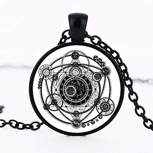 Sigil Magic Hexerei Anhänger Halsband Statement Silber Halskette Für Frauen Kleid Zubehör Glas Cabochon Schmuck