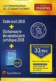 Pack Essentiel Les fondamentaux de l'étudiant en droit : Code civil 2018 ; Livret comparatif de la réforme du droit des contrats ; Petit guide de ... ; Dictionnaire du vocabulaire juridique 2018