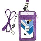 Porte-badge Wisdompro® vertical en similicuir avec 1fenêtre pour carte d'identité, 4fentes pour cartes, 1poche zippée sur le côté, 1lanière tour de cou de 50cm violet