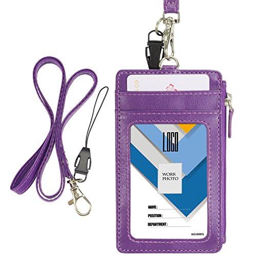 Wisdompro® Ausweishalter mit Reißverschluss, doppelseitig, vertikaler Stil, PU-Leder, mit 1 Fenster, 4Kartenfächer, 1Seitentasche mit Reißverschluss und 1Umhängeband, 50,8cm, PU-Leder violett (Band-verschluss-organizer)