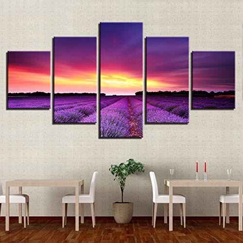 mmwin Leinwand HD-Drucke Bilder Home Decor Arbeit 5 Stück Sunset Glow Lila Lavendel Felder Landschaft s Wall Art Poster