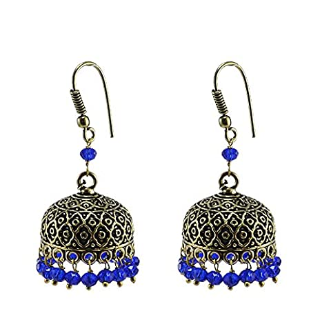 Bollywood Belly Dance Women Party Wear Jhumki Chandelier Earring With Smal Blue Crystals PG-106054