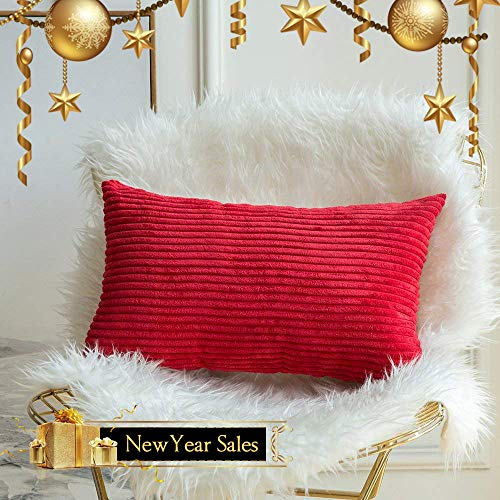 MIULEE Striped Corduroy Square Christmas Decoration Throw Pillow Case Cushion Cover Sham Home for Sofa Chair Couch/Bedroom Decorative Pillowcases 12x20 inch 30x50cm 1 Piece Red