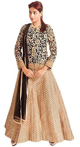 Angoori Women's Cotton Jute Salwar Suit (ANG069, black and gold, L)