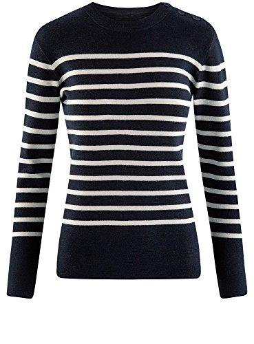 oodji Ultra Damen Pullover mit Streifen und Rundem Halsausschnitt Blau (7930S)