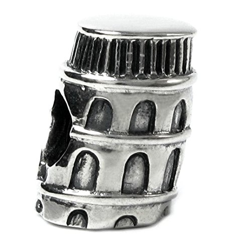 Queenberry Landmark Series Sterling Silver Italia torre di Pisa in stile europeo Bead charm
