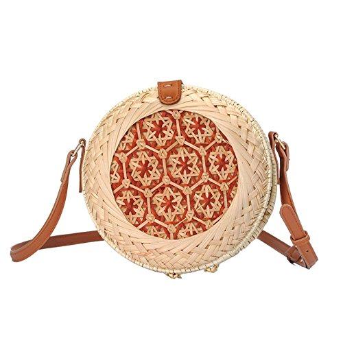 Tingtin Strandtasche Handtaschen Rattan-Hand-Gesponnener Crossbody Umhängetasche Runde für Damen Hochwertige Qualität