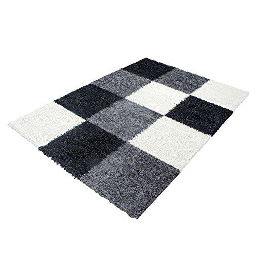 Hochflor Shaggy Teppich Rechteckig Pflegeleicht 3 cm Florhöhe Kariert Wohnzimmer, Farbe:Schwarz, Maße:120x170 cm (Kariert Teppich)