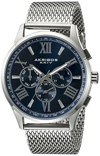 Akribos XXIV Hommes de Montre à Quartz avec Affichage analogique et Bracelet en Acier Inoxydable Argenté Cadran Bleu ak844ssbu