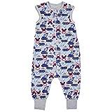 TupTam Unisex Babyschlafsack mit Beinen Unwattiert, Farbe: Bagger Blau/Grau, Größe: 104-110