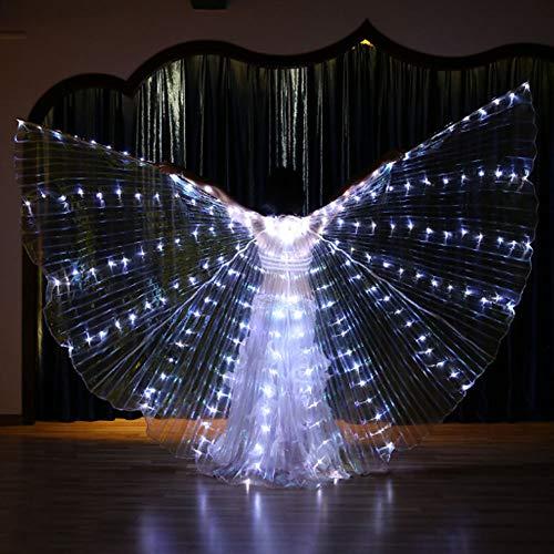 QMKJ LED leuchtende Glow Light Flügel tanzen Requisiten Bauchtanz vereinfachte Version des weißen Lichts Dance Costumes Performance Clothing Karneval Halloween,White