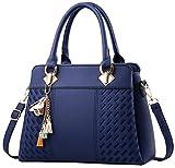 Damen Handtasche Damen Große Mode-Design Tragetaschen Damen Umhängetasche Top Griff Taschen(Blau)