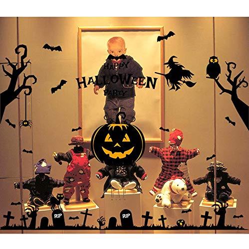 nxychunmei Halloween Spukhaus Kürbisse Wandaufkleber Kunst Wohnkultur Aufkleber Tapete Dekoration Fensterglas Aufkleber