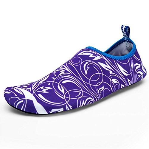 Blion Herren Damen Wasserschuhe Surfschuhe Aquaschuhe Strandschuhe Schwimmschuhe Barfußschuhe Breathable Schnell Trocknend 09 lila