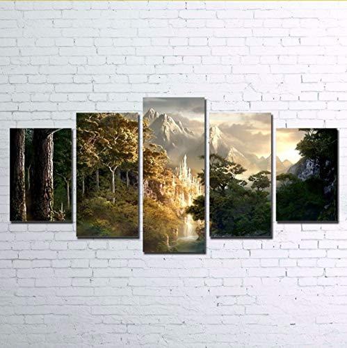RurengLeinwand Bilder Wohnzimmer Dekor Hd Print 5 Stücke Schloss In Den Bergen Malerei Wandkunst Herr Der Ringe Poster Arbeit 20X35 20X45 20X55Cm - Gerahmte Herr Ringe Poster Der