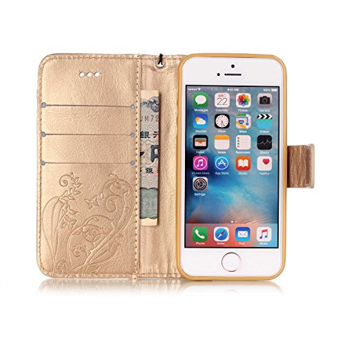 SE / 5 / 5S Hülle,SE / 5 / 5S Case,Cozy Hut ® Ultra Slim Flip Lederhülle / Ledertasche / Hülle / Case / Cover / Etui / Tasche für iPhone SE / 5 / 5S / 3D Diamant Strass Bling Glitzer Schmetterlings-Bl golden Schmetterling