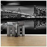 azutura San Francisco Brücke Fototapete Schwarz-Weiss Tapete Skyline Wohnkultur Erhältlich in 8 Größen Riesig Digital