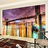LONGYUCHEN Benutzerdefinierte 3D Silk Mural Tapete New York City Gebäude Nacht Wand Für Wohnzimmer Wandbild Tapete Schlafzimmer Tv Hintergrund Wand Dekoration,100Cm(H)×190Cm(W)
