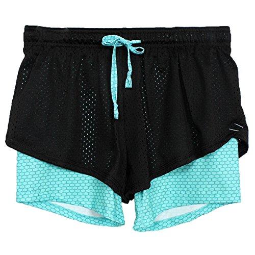 ECYC Frauen Sommer Yoga Shorts, Mesh Atmungsaktive Damen Kurze Hosen für Laufen Athletisch Sport Fitness Kleidung (Blau XL) (Athletisch Shorts Frauen)