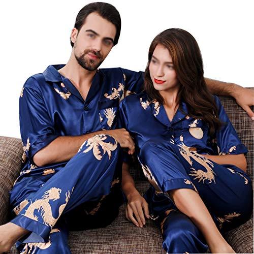 GJFeng Frühling Und Herbst Paare Hoch Imitation Silk Thin Pyjamas Set Chinesischen Stil Kurzarm Sleeve Home Wear (Farbe : Blau, größe : Men's 2XL) -