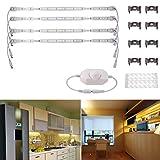 ledmomo Licht Lenkzwischenstangenkopf–LED, 4pcs 50cm SMD 5630LED Unter der Beleuchtung-Kabinett DC12V Version von Druckknopf aus Aluminium-Shell mit der Decke milchig-PC (warmes Licht/EU-Stecker)