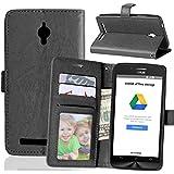 FUBAODA Funda de piel para ASUS ZenFone Go ZC500TG, [Cable Libre] función de soporte móvil, cierre magnético, ranuras para tarjeta de crédito para ASUS ZenFone Go ZC500TG (negro)