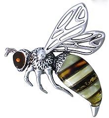 Idea Regalo - Ciondolo in argento spilla a forma di rana in argento sterling con ambra multicolore