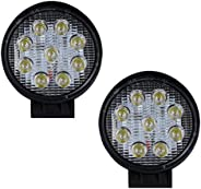 Pivalo PV9FW2P 4 Inch 9 LED Round Fog Light Waterproof Worklight Off Road Driving Spotlamp for Car and Motorcy