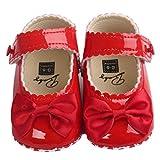 BZLine - Unisexe Bébé Bowknot Chaussure en PU cuir - Semelle à tissu - Anti-glissant (6~12 Mois, Rouge)