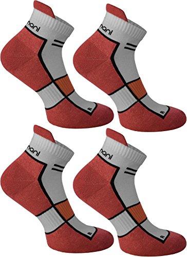 4 Paar Running Sport Sneaker Funktionssocken mit Frotteesohle verstärkt Farbe Hibiscus Größe 39/42