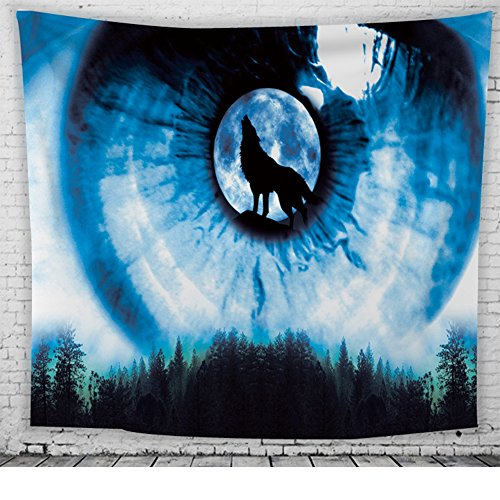 Blau Wolfstotem Wandteppiche Tribal Wolf in Blaues Auge Mond Nacht Wald Drucken Wandbehang Tapisserie Wand Dekor Indischer Mandala Boho Hippie Zauberstab Dekor Strand Werfen Tier Themed Tagesdecke
