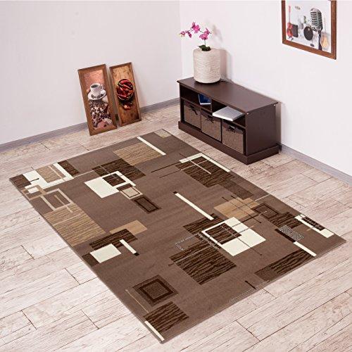 Tapiso Scarlet Teppich Kurzflor Designer Teppiche mit Modern Abstrakt Viereck Muster in Braun Mehrfarbig Ideal für Wohnzimmer, Schlafzimmer Ökotex 200 x 300 cm (Teppich Floral Streifen)